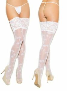 cf4caad4e 5in Lace Top Thigh High Stockings White Bridal Hosiery Wedding ...