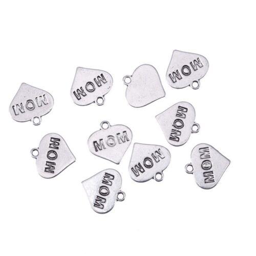 Wholesale 30pcs MOM Word Beads Heart Tibetan Silver Charms Pendant DIY Bracelet