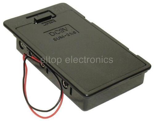 Cerrados sostenedor de batería Caja Para 6AA Tamaño células Con Clip De Ajuste Tapa, Panel Mount