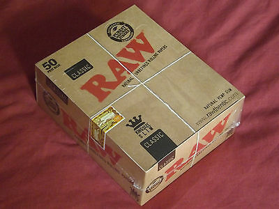 Raw Classic King Size Slim Unbleached Natural Rolling Papers Full Box Of 50 BNIB