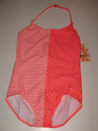 Roxy 12 Girl/'s 1 Pc Neon Coral Pink Polka Dot Stripe Swimsuit Triangle NWT