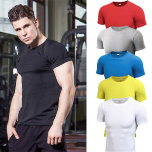 Mens-Workout-Compression-T-Shirts-Running-Basketball-Spandex-Dri-Fi-Stretchy-Tee