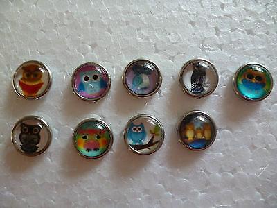 Mini Chunk Button Druckknopf Clicks Snap Chunks Druckknöpfe 12 mm Eule