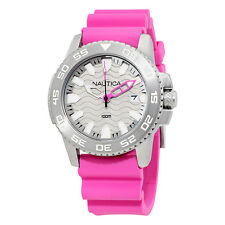 Nautica NSR 20 Sports Silver Dial Pink Silicone  Ladies Watch NAI12533G
