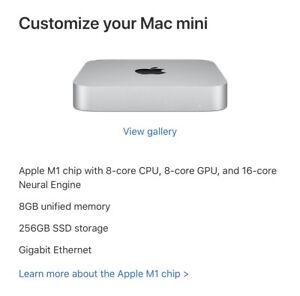 apple mac mini m1 8gb 256gb(2020)