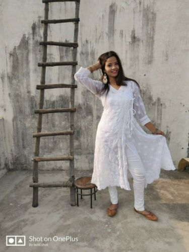 New Indian Lucknawi Chikankari Georgette Angarkha Kurti Ethnic Party Wear Kurta