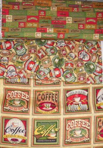 €18//m² Patchworkstoff 0,3m Coffee Shop Kaffee Tasse  1,1m breit