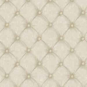 Wallpaper-Designer-Beige-and-Taupe-Faux-Tufted-Fabric-Look