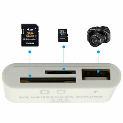 3 in 1 USB Camera Connection Kit Memory Card Reader For iPad Iphone iOS 11