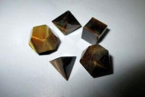 Details about Jet Yellow Tiger Eye Sacred Geometry 5 Stone Set Platonic  Sphere Spiritual Love