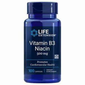 Vitamin B3 Niacin 100 caps 500 MG by Life Extension