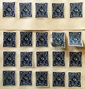German Deutsches Reich 6 Mark Blue Posthorn Stamp 1922