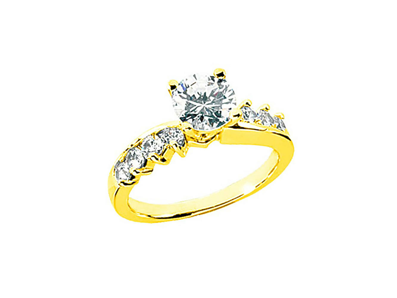 Natural 0.90Ct Round Cut Diamond Engagement Ring Solid 10k gold HI SI2