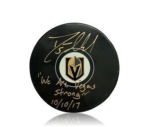 Deryk-Engelland-Signed-Vegas-Golden-Knights-Inscribed-034-Strong-034-Puck-W-Case-JSA