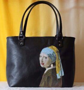 Caricamento dell immagine in corso Borsa-donna-vera-pelle -artigianale-nero-dipinto-artistic- 7cc37e22804