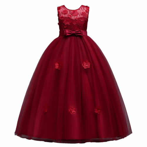 Pink Blue Party Wedding Bridesmaid Dress Gown O105 Childrens Girls Lace Red