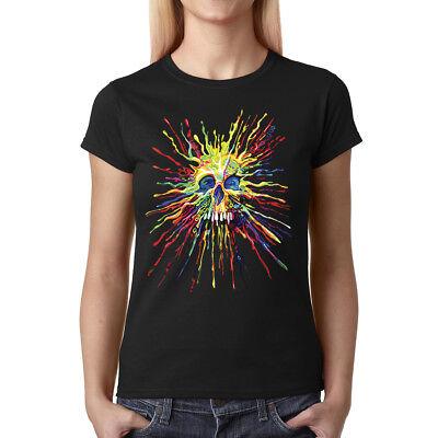 Velocitee Ladies T-Shirt Colourful Ethnic Art Mosaic Hummingbird W20345
