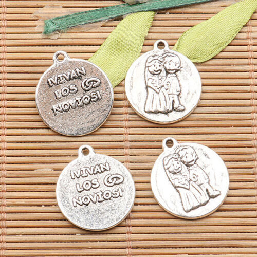 7pcs tibetan silver color round shaped the bride and bridegroom  charms H3781