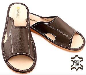 Herren Leder Pantoletten Elegant Mod. 01 Pantoffeln HausSchuhe Schuhe 40-46 NEU