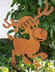 Gartenstecker Weihnachten.Details Zu Gartenstecker Elch Weihnachten Rost Edelrost Metall Stecker Gartenfigur