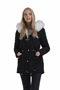 Womens Winter Black White Faux Fur Lining Hooded Zipped Warm ... ea9a159dc