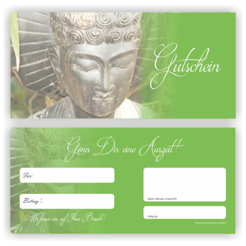 Wellness Voucher Card Buddha Gift Relax coupons gift coupon gu-9