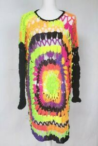 Vintage-Handmade-Colorful-Crochet-Sweater-One-Size