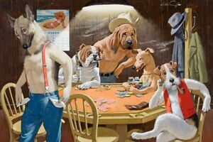 Best Gift Home Decor wall Dogs Playing Poker Oil painting Printed on canvas II