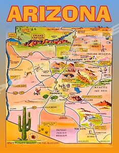 Travel Map Of Arizona.Details About Arizona Map Travel Souvenir Fridge Magnet