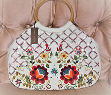 Isabella Fiore Ivory Leather Bag Round Embroidered with Wooden Handles NWT