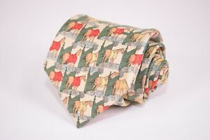 HERMES-Necktie-in-Tan-with-Multi-Colored-Horses-in-Stables