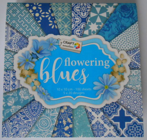 BOOK FLOWERING BLUES 10CM X 10CM 100 PAPERS FOR CARDS AND CRAFTS