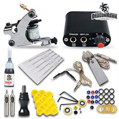 Complete Tattoo Kit Machine Guns Color Inks Needles Power Supply MGT-18ND-9