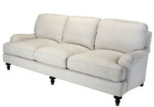 2 WESTPORT ENGLISH ROLL ARM SOFAS 100% linen cotton off white down ...
