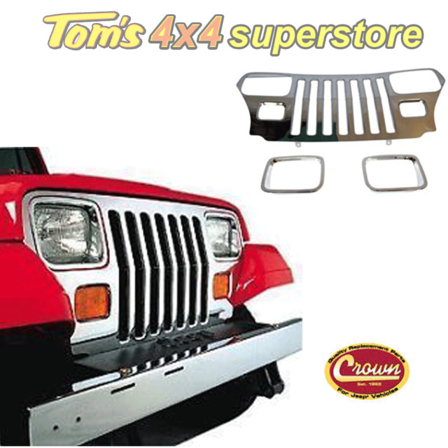 55056587STK, Crown, Stainless Grille Overlay Kit, Jeep Wrangler YJ 1987-1995