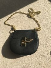 Real Leather Drew Style Chain Bag Black