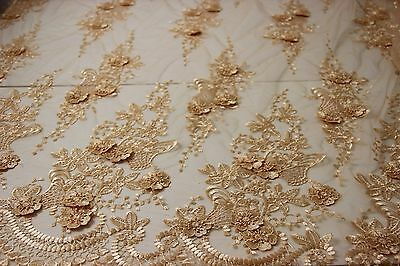 K1 3D lace fabric, 3D flowers, bridal, wedding, 130cm wide, sold by 0.5 yard