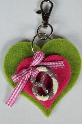 Schlüsselanhänger Filzherz Karabiner Filz Pink Apfelgrün Brezel Landhaus Tracht