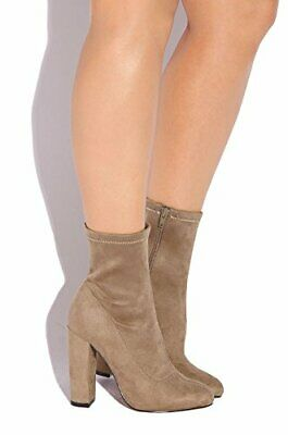 LFL Lust For Life Macey REBEL TOUCH TAUPE SUEDE High Heel Egdy Ankle Booties