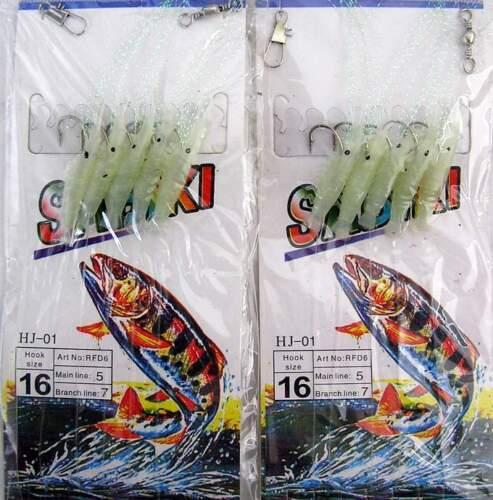 2 packs d/'eau salée Glow-in-Dark Crevettes Sabiki Rigs 5x taille 6 crochets NEUF