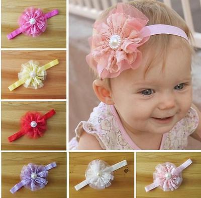 Lace Flower&pearl Headband-ivory,pink,white,aqua,yellow,red,beige,black,purple Girls' Accessories