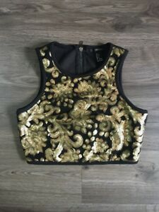 85eb4e75170 Forever 21 Top Womens S Small Sequin Black Gold Crop Top Festival ...
