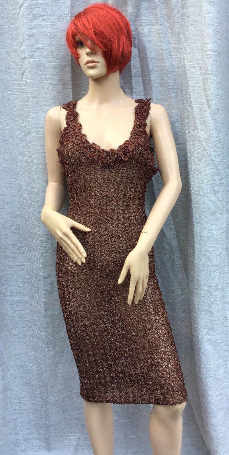 Lainey HAND Knit in Irlanda oro Marronee rosso Thread Abito