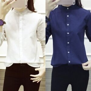 0d4f7cd8f72263 New Womens Long Sleeve Stand Collar Shirt Casual Cotton Button Down ...
