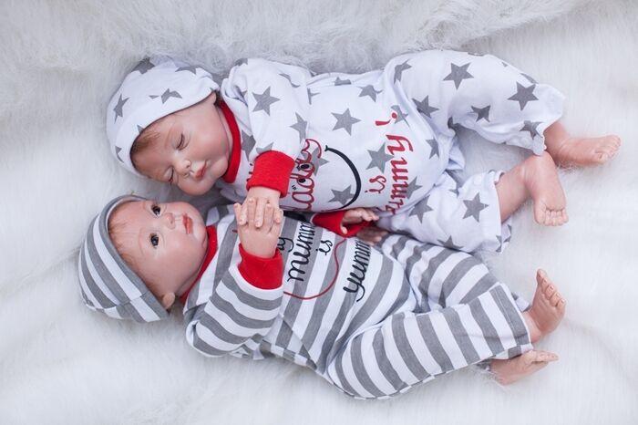 22  gemelos de bebé Reborn Vinilo Silicona Boy & Girl Doll Toddler Recién Nacido Regalo de Vivero