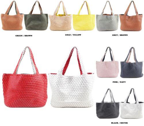 Women Reversible 2 In 1 Woven Bag In A Bag Two Tone Large Shopper Shoulder