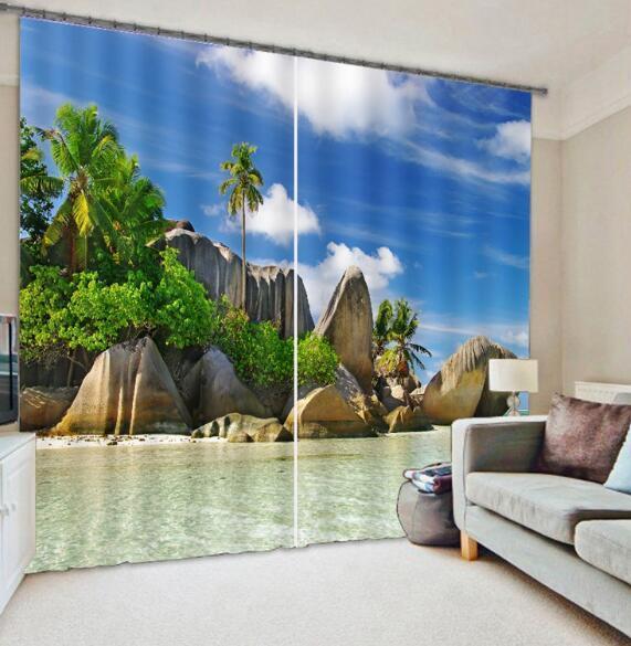 3D Cielo Mar 2 Cortinas de impresión de cortina de foto Blockout Tela Cortinas Ventana au