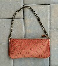 J CREW Orange Green Floral Print Silk Purse Clutch Shoulder Bag Handbag.