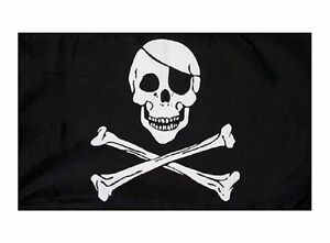 Pirate-Flag-Hand-Waver-Waving-Jolly-Roger-Skull-amp-Crossbones-3-x-2-ft-Sleeved