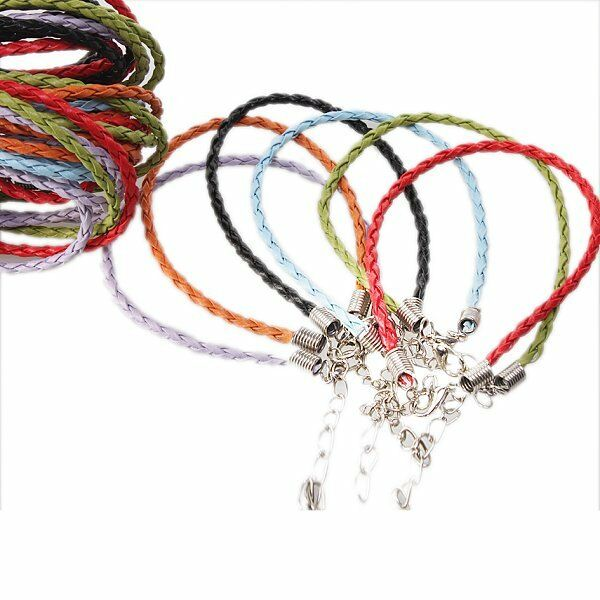 36x Charms Assorted Leather Braided Bracelets Cords Lobster Clasp Finding 130106